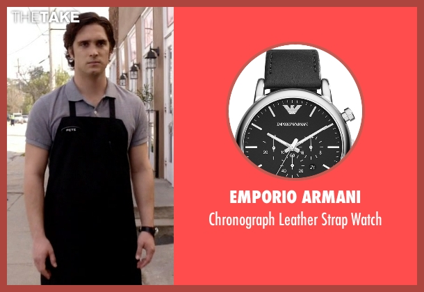 Emporio Armani black watch from Scream Queens seen with Pete Martinez (Diego Boneta)