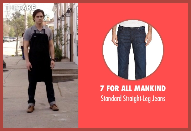 7 For All Mankind blue jeans from Scream Queens seen with Pete Martinez (Diego Boneta)