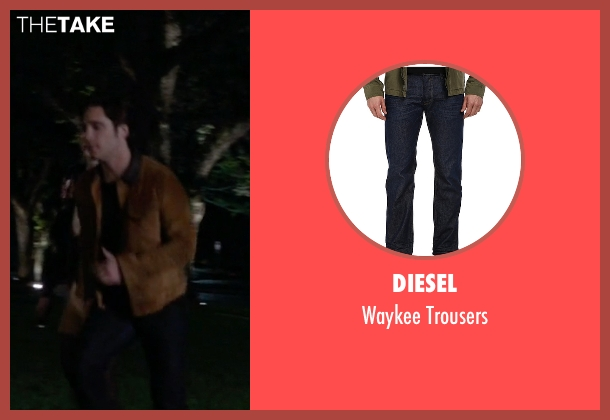 Diesel blue trousers from Scream Queens seen with Pete Martinez (Diego Boneta)