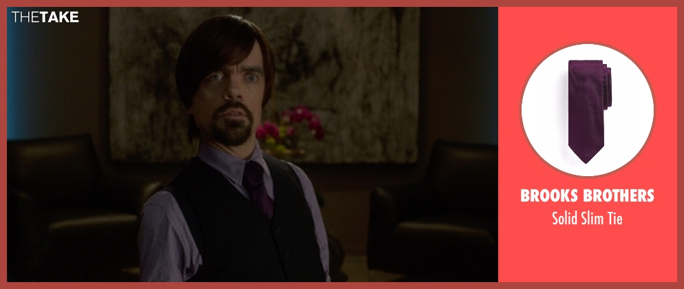 Brooks Brothers tie from The Boss seen with Peter Dinklage (Renault)