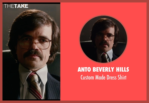 Anto Beverly Hills beige shirt from X-Men: Days of Future Past seen with Peter Dinklage (Bolivar Trask)