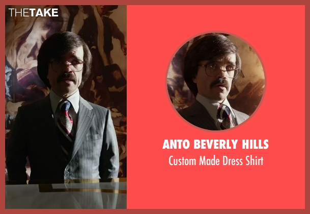 Anto Beverly Hills white shirt from X-Men: Days of Future Past seen with Peter Dinklage (Bolivar Trask)