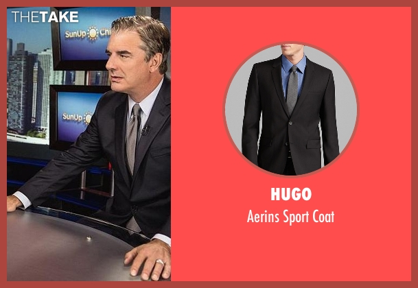 Hugo black coat from The Good Wife seen with Peter Florrick (Chris Noth)