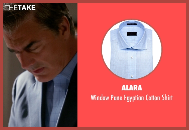 Alara blue shirt from The Good Wife seen with Peter Florrick (Chris Noth)