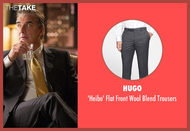 Hugo gray trousers from The Good Wife seen with Peter Florrick (Chris Noth)