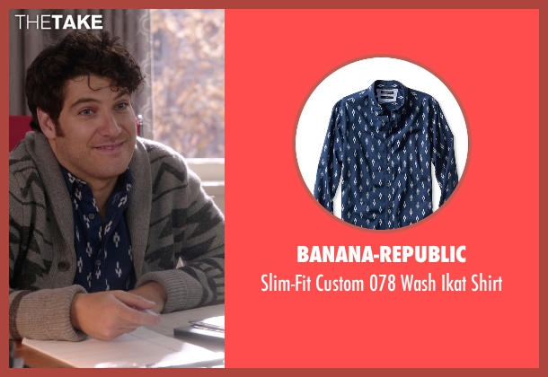 Banana-Republic blue shirt from The Mindy Project seen with Peter Prentice  (Adam Pally )