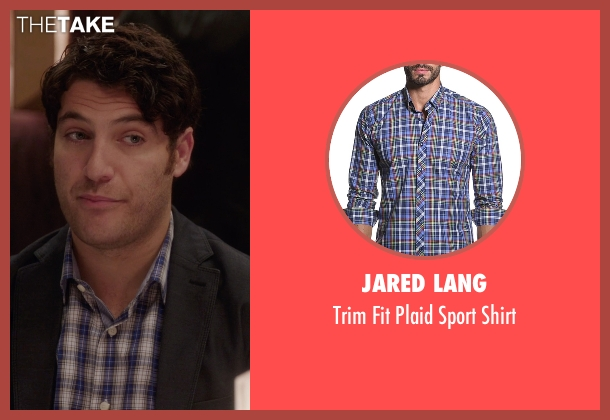 Jared Lang blue shirt from The Mindy Project seen with Peter Prentice  (Adam Pally )