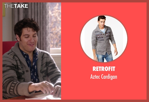 Retrofit gray cardigan from The Mindy Project seen with Peter Prentice  (Adam Pally )