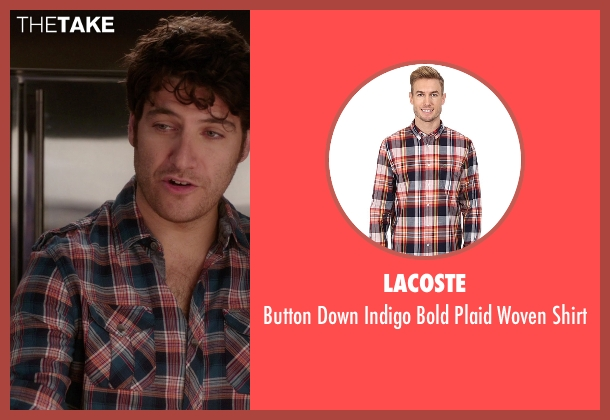 Lacoste orange shirt from The Mindy Project seen with Peter Prentice  (Adam Pally )