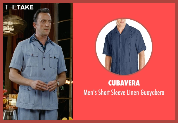Cubavera blue guayabera from Couple's Retreat seen with Peter Serafinowicz (Sctanley)