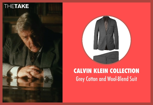 Calvin Klein Collection gray suit from Atonement seen with Peter Wight (Police Inspector)
