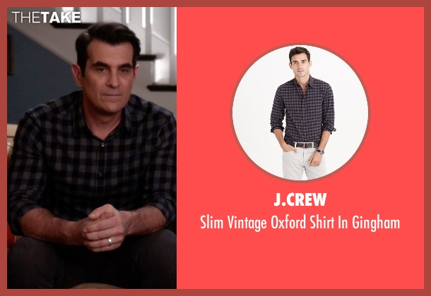 J.Crew black gingham from Modern Family seen with Phil Dunphy (Ty Burrell)