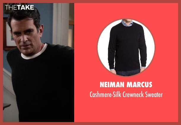 Neiman Marcus black sweater from Modern Family seen with Phil Dunphy (Ty Burrell)