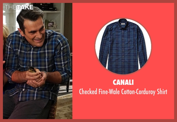 Canali blue shirt from Modern Family seen with Phil Dunphy (Ty Burrell)