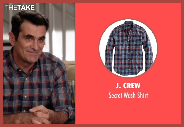 J. Crew blue shirt from Modern Family seen with Phil Dunphy (Ty Burrell)
