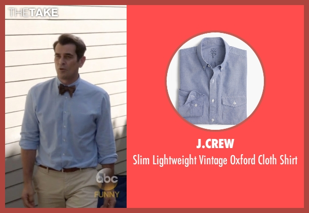 J.Crew blue shirt from Modern Family seen with Phil Dunphy (Ty Burrell)