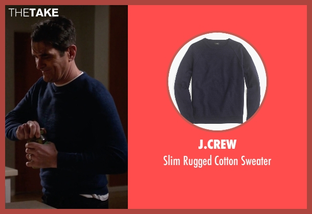 J.Crew blue sweater from Modern Family seen with Phil Dunphy (Ty Burrell)
