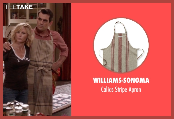 Williams-Sonoma brown apron from Modern Family seen with Phil Dunphy (Ty Burrell)