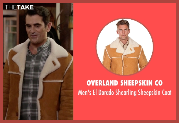 Overland Sheepskin Co brown coat from Modern Family seen with Phil Dunphy (Ty Burrell)