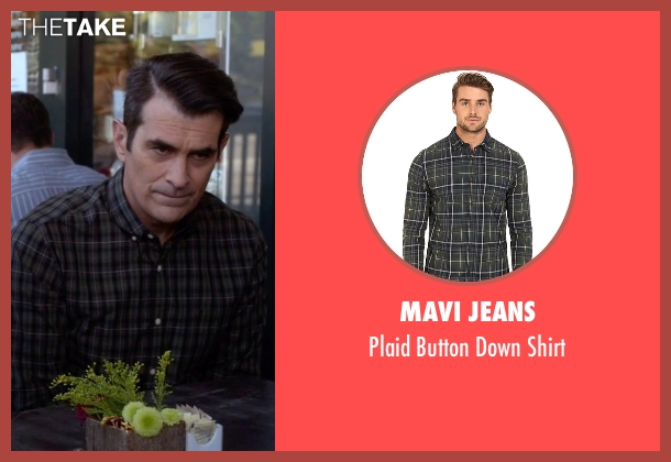 Mavi Jeans green shirt from Modern Family seen with Phil Dunphy (Ty Burrell)
