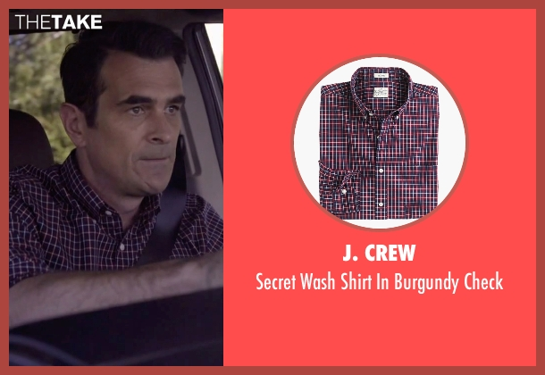 J. Crew red check from Modern Family seen with Phil Dunphy (Ty Burrell)
