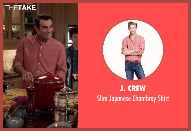 J. Crew red shirt from Modern Family seen with Phil Dunphy (Ty Burrell)
