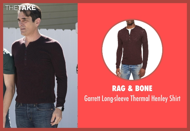 Rag & Bone red shirt from Modern Family seen with Phil Dunphy (Ty Burrell)