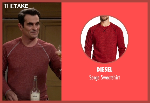 Diesel red sweatshirt from Modern Family seen with Phil Dunphy (Ty Burrell)