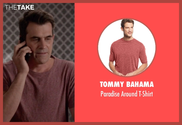 Tommy Bahama red t-shirt from Modern Family seen with Phil Dunphy (Ty Burrell)