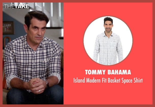 Tommy Bahama white shirt from Modern Family seen with Phil Dunphy (Ty Burrell)