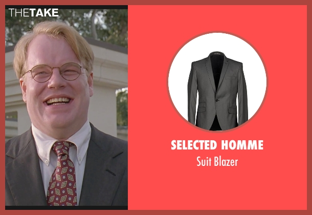 Selected Homme gray blazer from The Big Lebowski seen with Philip Seymour Hoffman (Brandt)