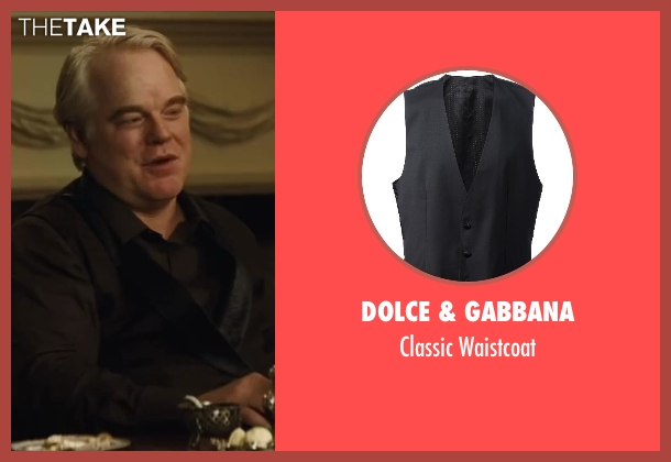 Dolce & Gabbana black waistcoat from The Hunger Games: Catching Fire seen with Philip Seymour Hoffman (Plutarch Heavensbee)