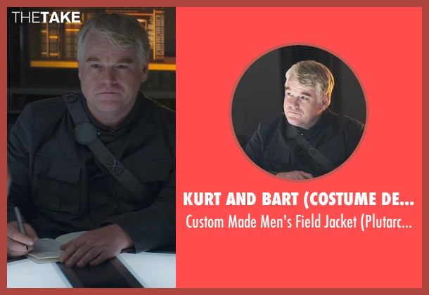 Kurt and Bart (Costume Designer) black jacket from The Hunger Games: Mockingjay Part 1 seen with Philip Seymour Hoffman (Plutarch Heavensbee)