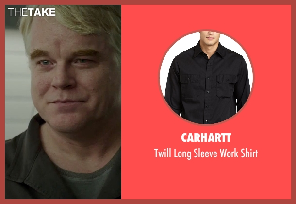 Carhartt black shirt from The Hunger Games: Mockingjay - Part 2 seen with Philip Seymour Hoffman (Plutarch Heavensbee)