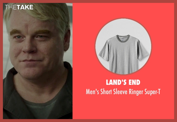Land's End gray super-t from The Hunger Games: Mockingjay - Part 2 seen with Philip Seymour Hoffman (Plutarch Heavensbee)