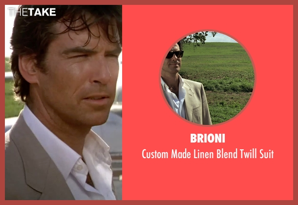 Brioni beige suit from GoldenEye seen with Pierce Brosnan (James Bond)