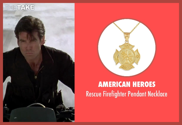American Heroes gold necklace from GoldenEye seen with Pierce Brosnan (James Bond)
