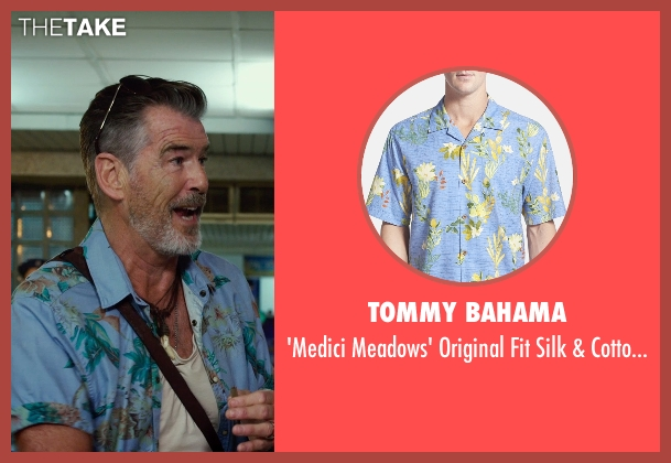 Tommy Bahama blue campshirt from No Escape seen with Pierce Brosnan (Hammond)
