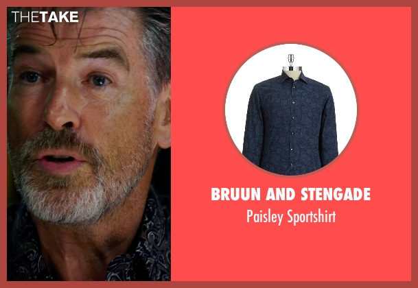 Bruun and Stengade blue sportshirt from No Escape seen with Pierce Brosnan (Hammond)