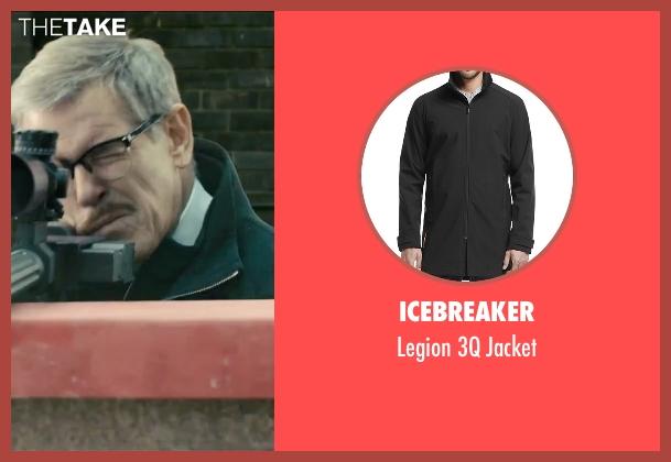Icebreaker black jacket from Survivor seen with Pierce Brosnan (The Watchmaker)