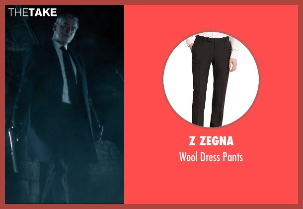 Z Zegna black pants from Survivor seen with Pierce Brosnan (The Watchmaker)