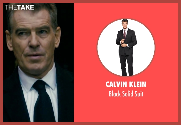 Calvin Klein black suit from Survivor seen with Pierce Brosnan (The Watchmaker)