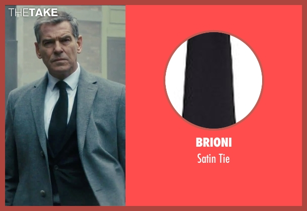 Brioni black tie from Survivor seen with Pierce Brosnan (The Watchmaker)