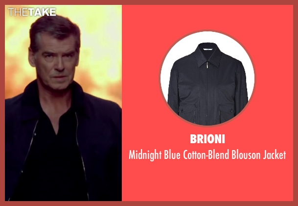 Brioni blue jacket from The November Man seen with Pierce Brosnan (Peter Devereaux)