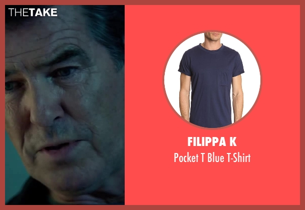 Filippa K blue t-shirt from The November Man seen with Pierce Brosnan (Peter Devereaux)
