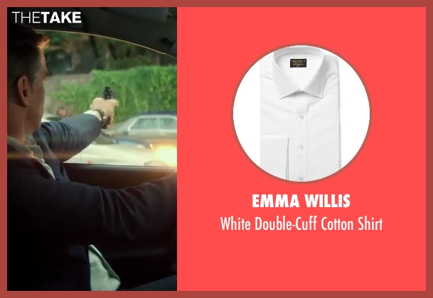 Emma Willis white shirt from The November Man seen with Pierce Brosnan (Peter Devereaux)