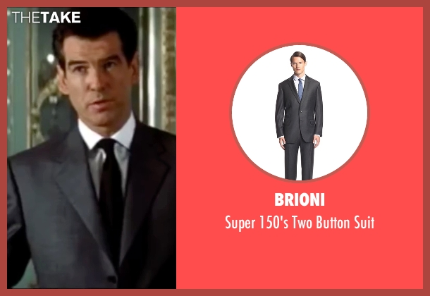 Brioni gray suit from The World is Not Enough seen with Pierce Brosnan (James Bond)