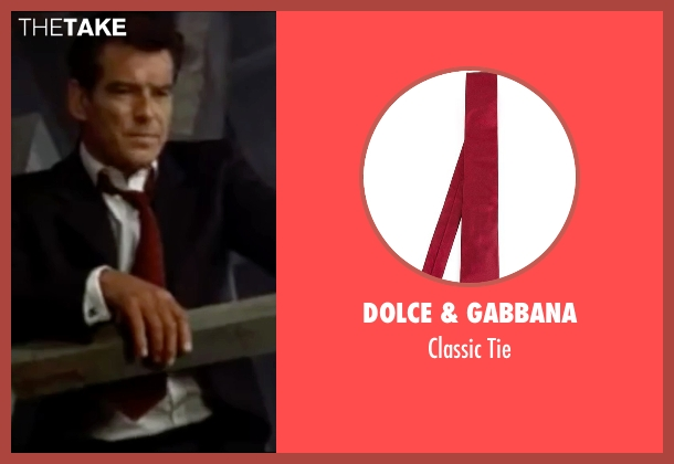 Dolce & Gabbana red tie from The World is Not Enough seen with Pierce Brosnan (James Bond)