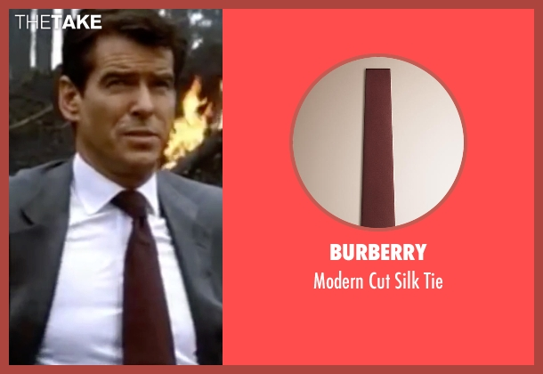 Burberry red tie from The World is Not Enough seen with Pierce Brosnan (James Bond)