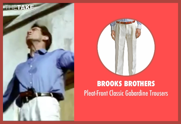 Brooks Brothers white trousers from The World is Not Enough seen with Pierce Brosnan (James Bond)